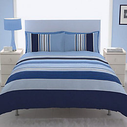 Chartwell Barcode Striped Blue Single Bed Cover Set
