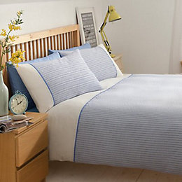 Chartwell Chicago Striped Blue Double Bed Cover Set