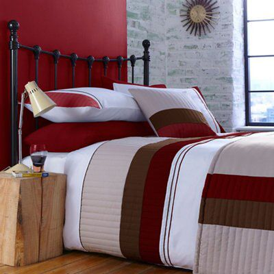 Chartwell boston striped red king size bed cover set for B q bedroom furniture sets