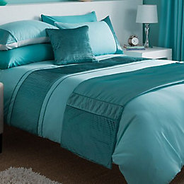 Chartwell Como Striped Turquoise Double Bed Cover Set