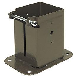 Steel Bolt Down Post Support (L)480mm (W)100mm (D)100mm,