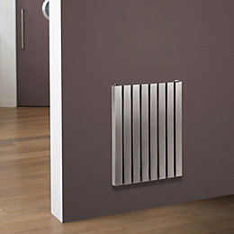 Eda Vertical Radiator Brushed, (H)500 mm (W)390 mm