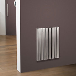 Eda Vertical Radiator Brushed (H)500 mm (W)590 mm