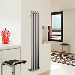 Tubular Vertical Radiator Brushed, (H)1800 mm (W)130 mm