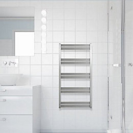 Selma Brushed Steel Towel Radiator (H)1030mm (W)530mm