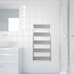 Selma Brushed Steel Towel Rail (H)1490mm (W)530mm