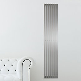 Kali Vertical Radiator Brushed, (H)2000 mm (W)240 mm