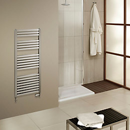 Piro Brushed Steel Towel Rail (H)1200mm (W)550mm