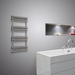 Pasadoble Brushed Steel Towel Radiator (H)705mm (W)500mm