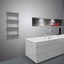 Pasadoble Brushed Steel Towel Radiator (H)1560 (W)500 mm