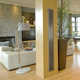 Lynix Vertical Radiator Brushed, (H)1500 mm (W)255 mm
