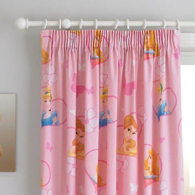 Disney Princess Pink Pencil Pleat Lined Children's Curtains