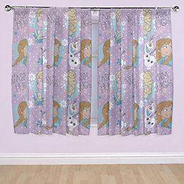Disney Frozen Purple Pencil Pleat Children's Curtains