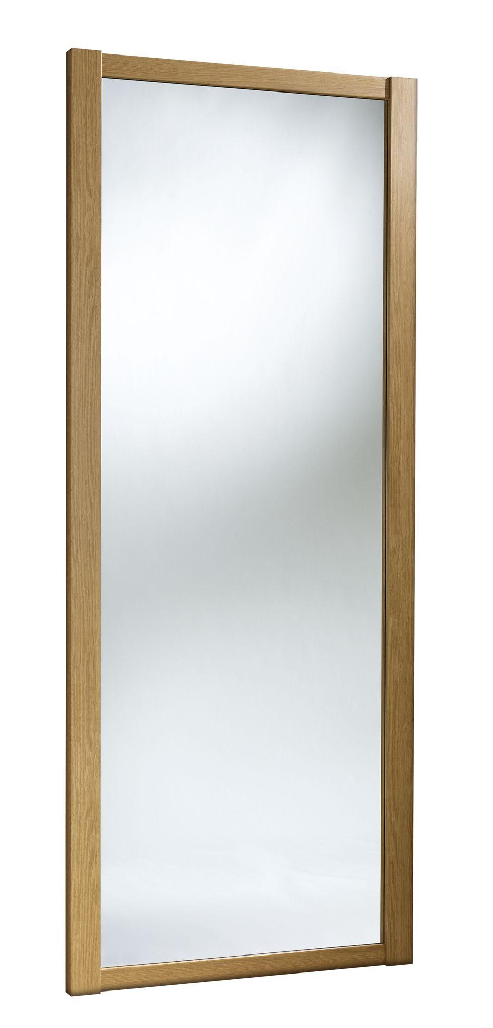 Shaker Full Length Mirror Natural Oak Effect Sliding Wardrobe Door (h)2220 Mm (w)610mm