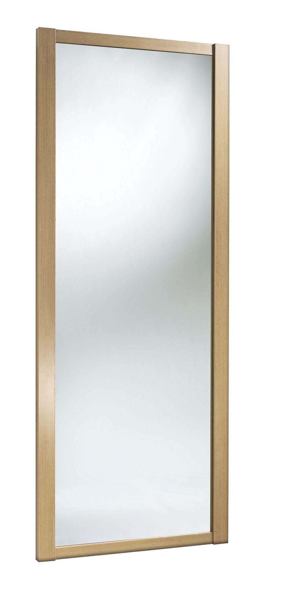Shaker full length mirror natural oak effect sliding for B q bathroom mirrors