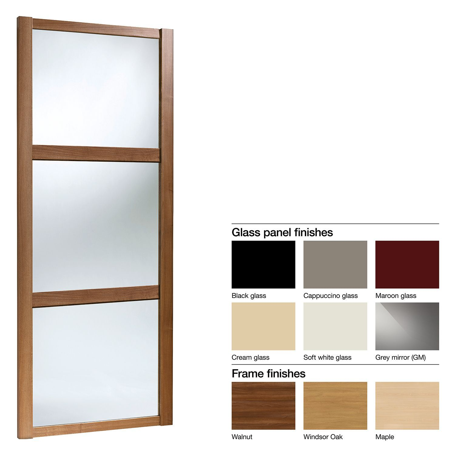 Made to measure sliding wardrobes glass sliding doors mirror - Made To Measure Shaker 3 Panel Glass Mirror Sliding Wardrobe Door W 741 913mm