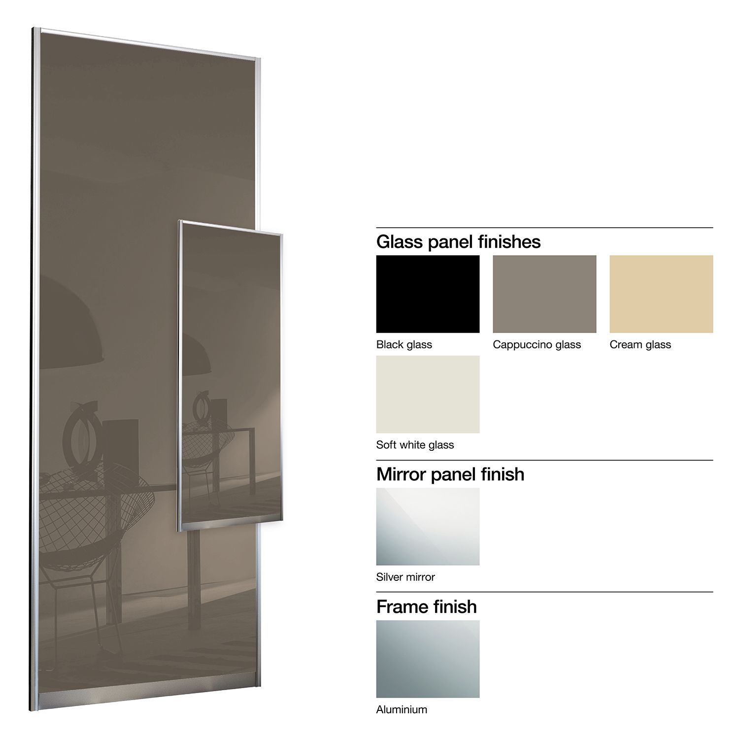 Made to measure sliding wardrobes glass sliding doors mirror - Made To Measure Double Sided 1 Panel Glass Sliding Wardrobe Door W 741