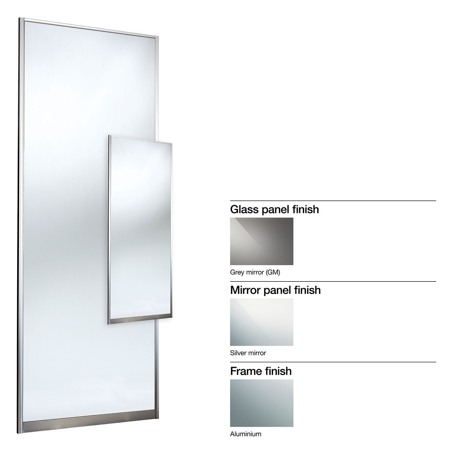 Made To Measure Double Sided 1 Panel Mirror Sliding Wardrobe Door (w)550-740mm