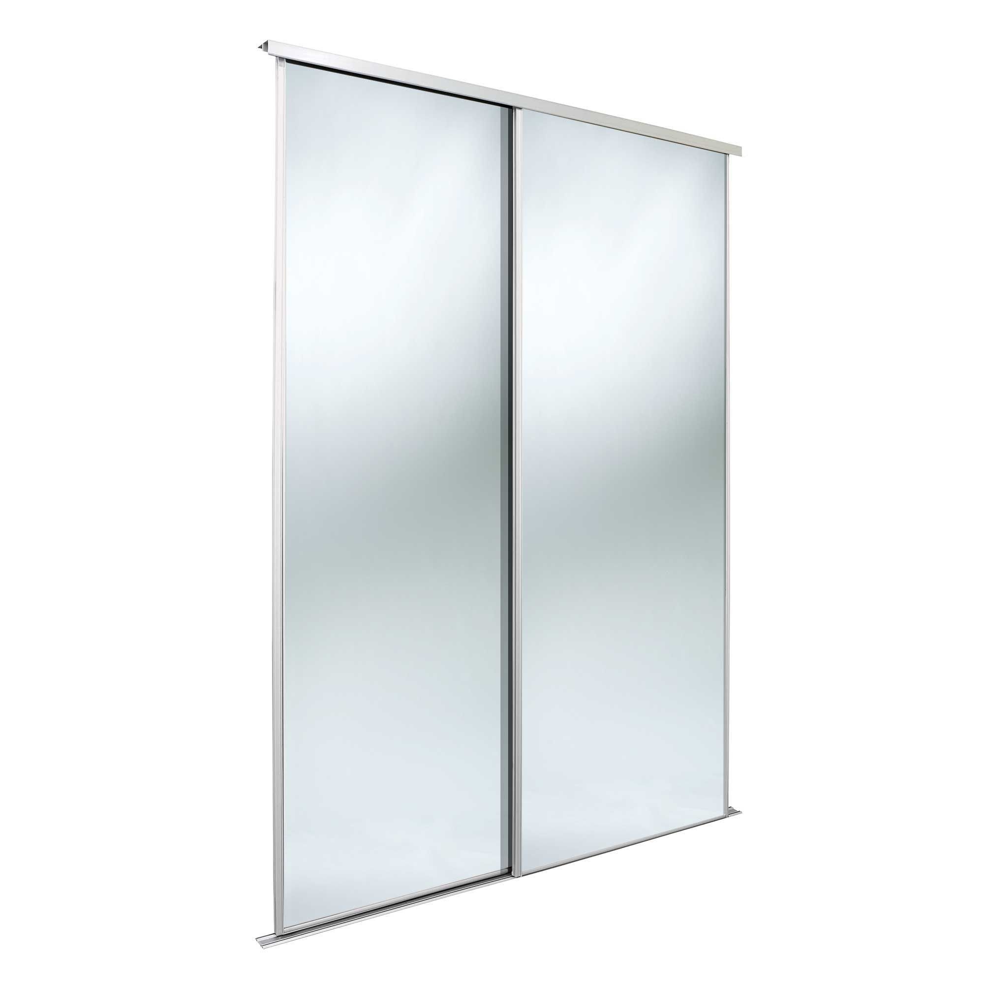 Classic Mirrored White Mirror Effect Sliding Wardrobe Door Kit (h)2220 Mm (w)762 Mm, Pack Of 2