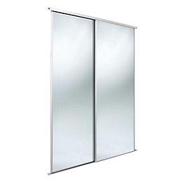 Classic Mirrored White Mirror Effect Sliding Wardrobe Door