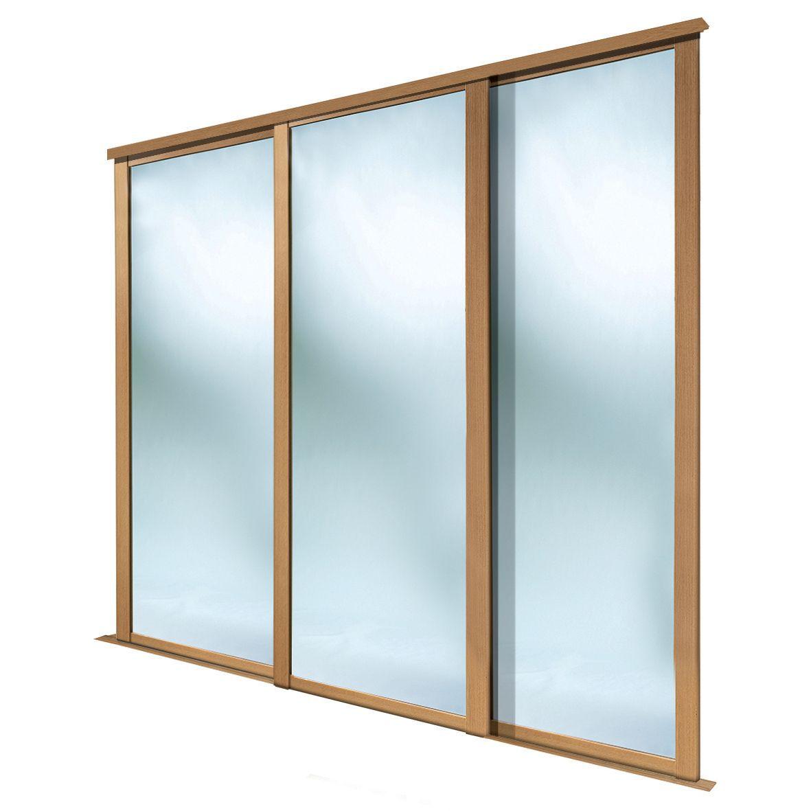 Shaker Full Length Mirror Oak Effect Sliding Wardrobe Door (h)2223 Mm (w)610mm, Pack Of 3