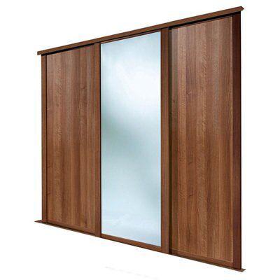 Shaker Full Length Mirror Walnut Effect Sliding Wardrobe Door (h)2223 Mm (w)610mm, Pack Of 3