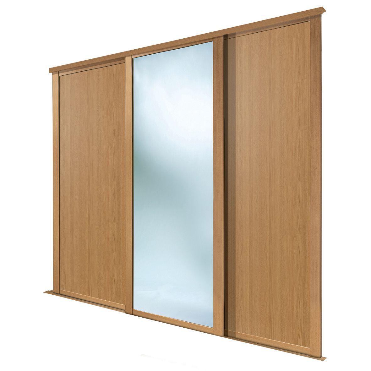 Shaker Full Length Mirror Oak Effect Sliding Wardrobe Door (h)2223 Mm (w)762mm, Pack Of 3