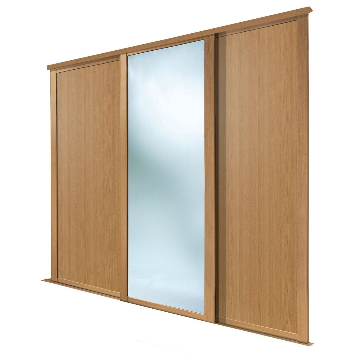 Shaker Full Length Mirror Oak Effect Sliding Wardrobe Door (h)2223 Mm (w)914mm, Pack Of 3