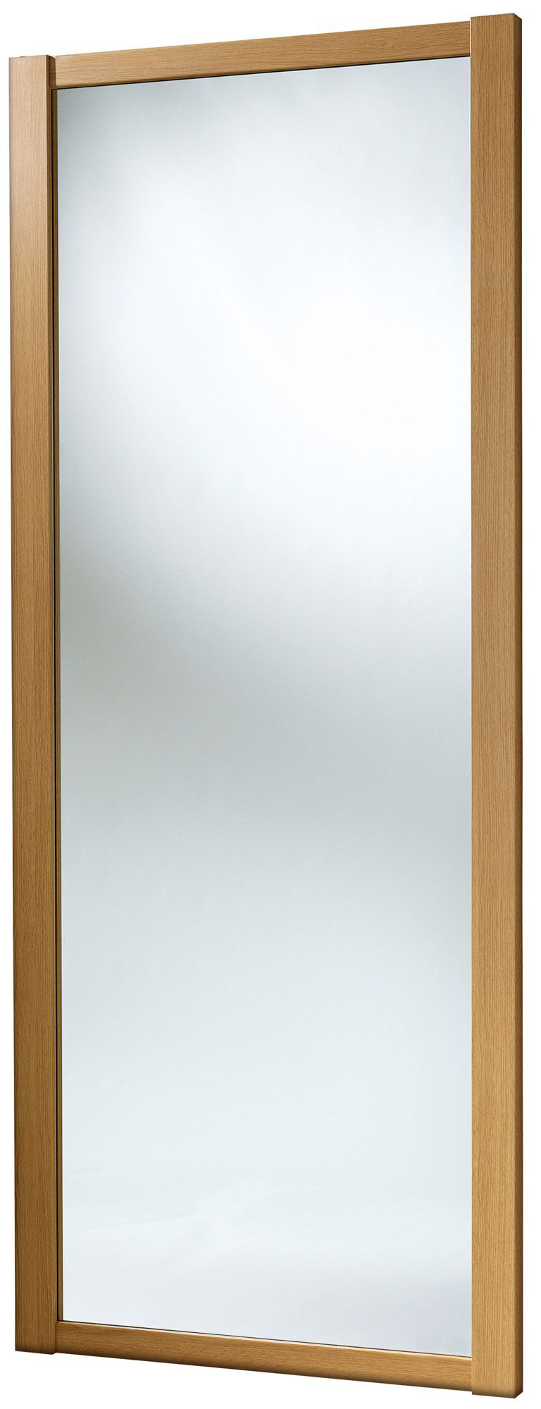 Shaker Mirrored Natural Traditional Oak Effect Sliding Wardrobe Door (h)2220 Mm (w)762mm