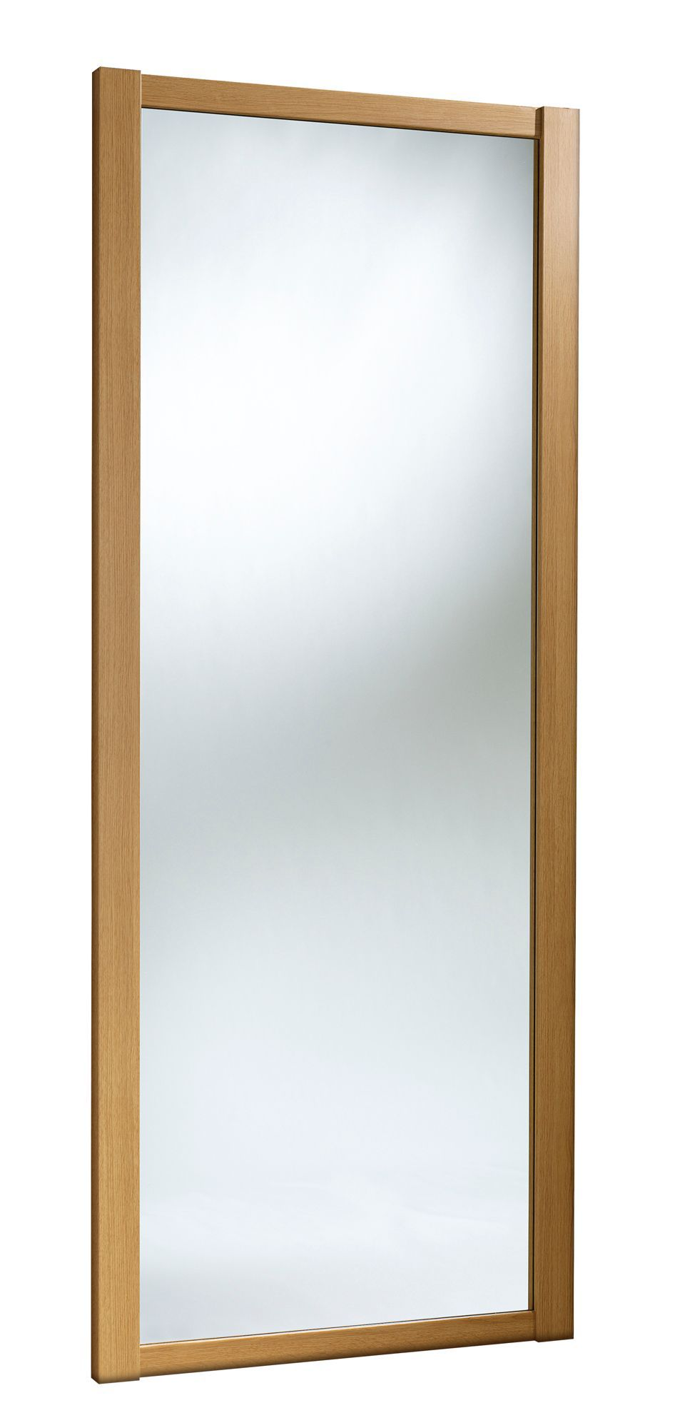 Shaker Mirrored Natural Traditional Oak Effect Sliding Wardrobe Door (h)2220 Mm (w)914mm