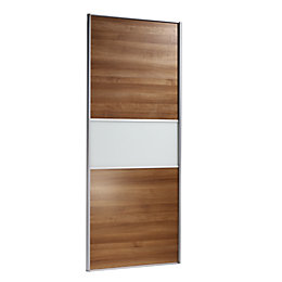 Fineline Natural Walnut Effect Sliding Wardrobe Door (H)2220