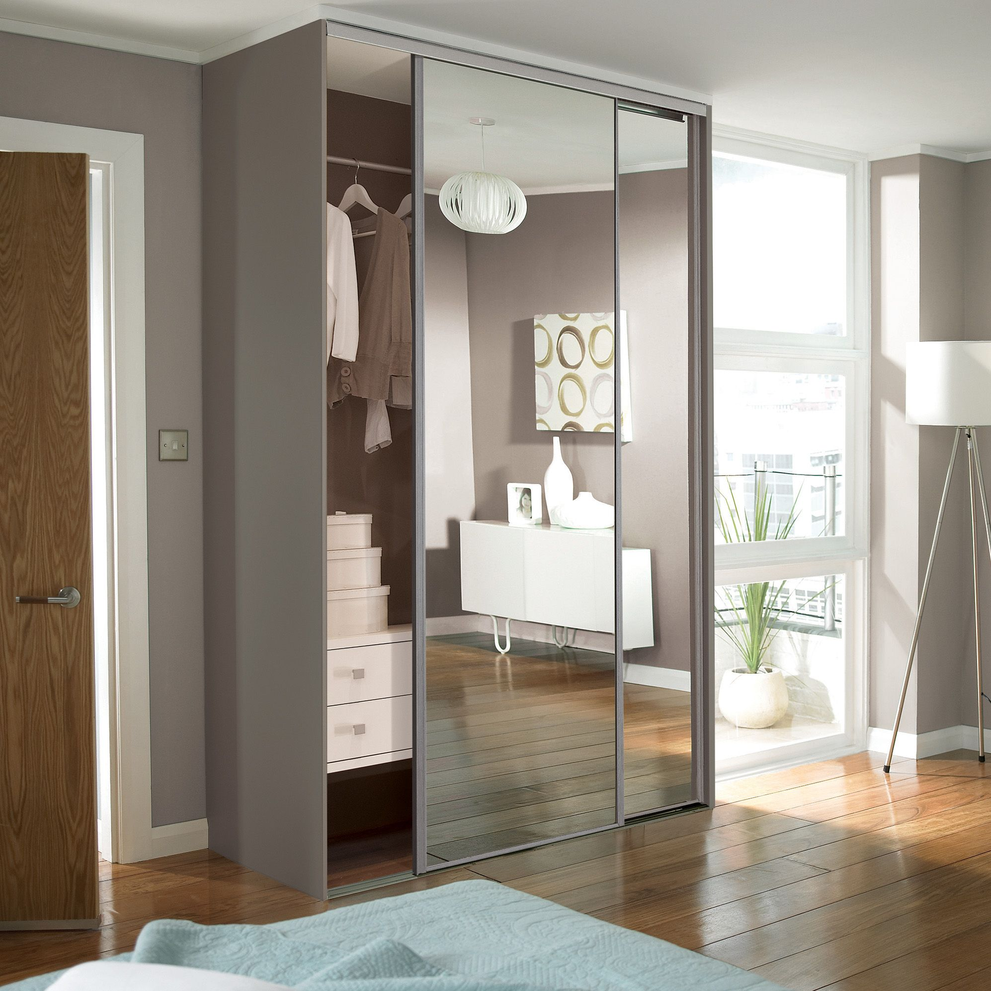 Mirrored stainless steel effect sliding wardrobe doors & Sliding wardrobe doors buying guide | Ideas u0026 Advice | DIY at Bu0026Q pezcame.com