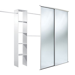 Traditional Full Length Mirror White Sliding Wardrobe Door