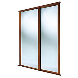 Full Length Mirror Natural Walnut Effect Sliding Wardrobe