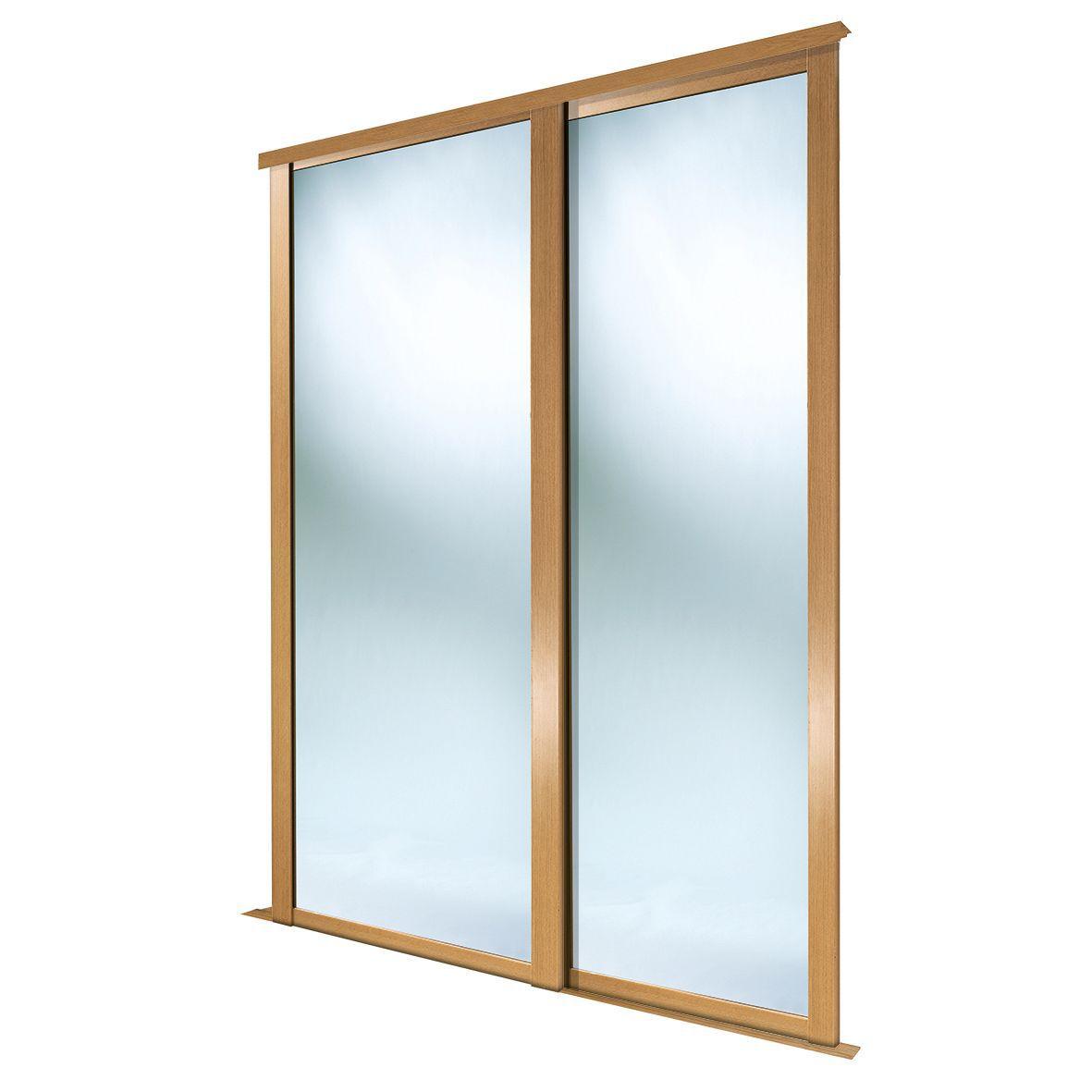 Full Length Mirror Natural Oak Effect Sliding Wardrobe Door (h)2223 Mm (w)914 Mm, Pack Of 2