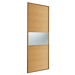 Fineline Oak & Mirror Sliding Wardrobe Door (H)2220