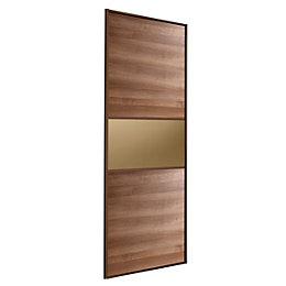 Fineline Walnut & Bronze Sliding Wardrobe Door (H)2220