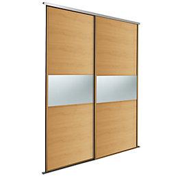 Fineline White Mirror Sliding Wardrobe Door Kit (H)2220