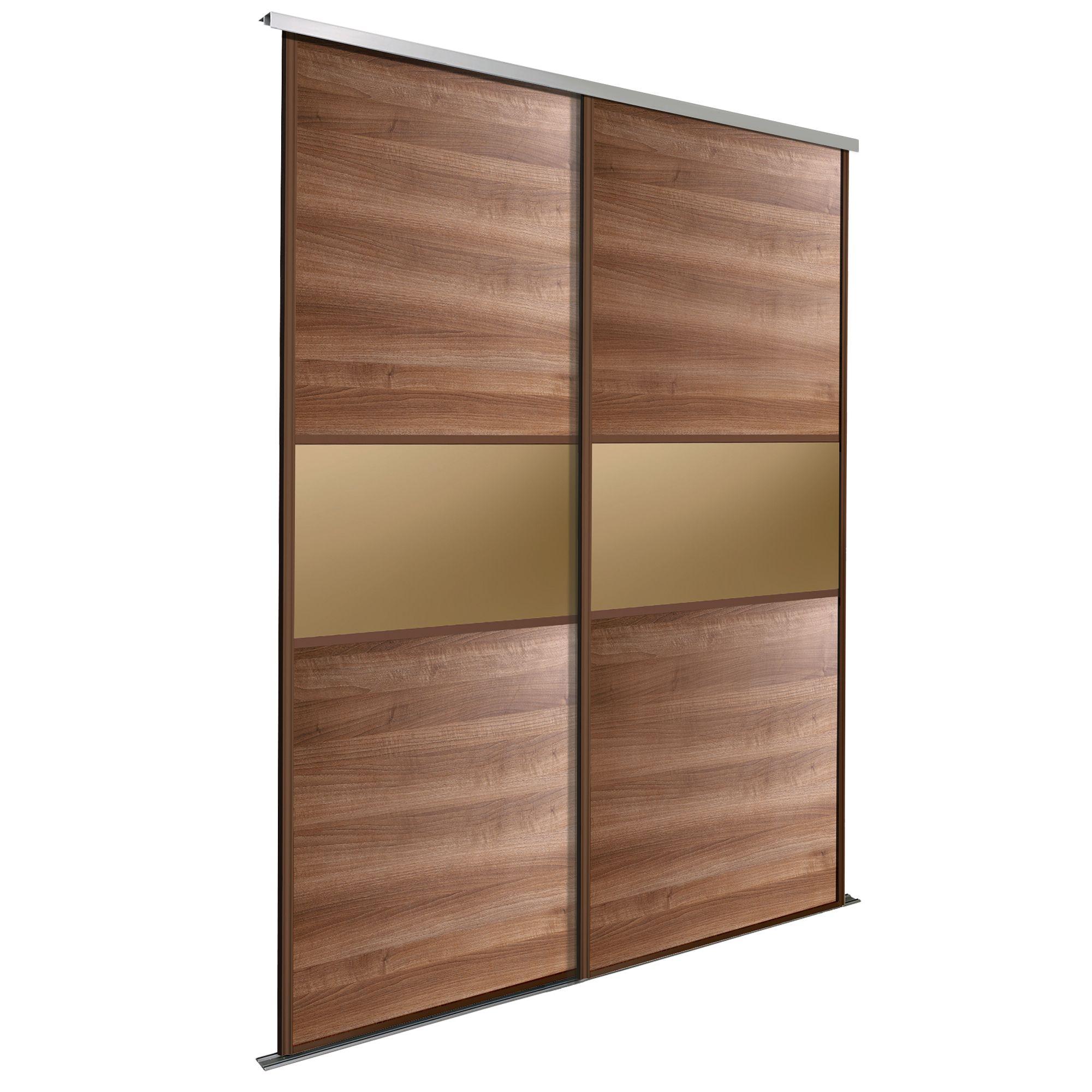 Fineline Bronze Walnut Effect Sliding Wardrobe Door Kit (h)2200 Mm (w)610 Mm, Pack Of 2