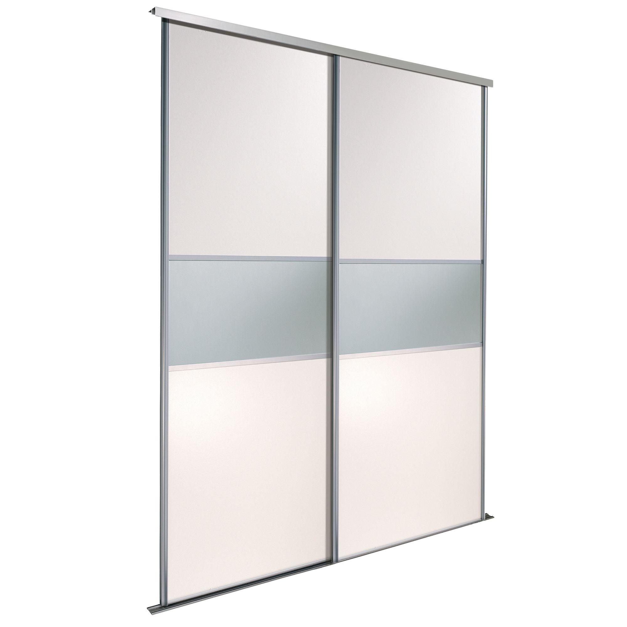Fineline White Mirror Sliding Wardrobe Door Kit (h)2220 Mm (w)914 Mm, Pack Of 2