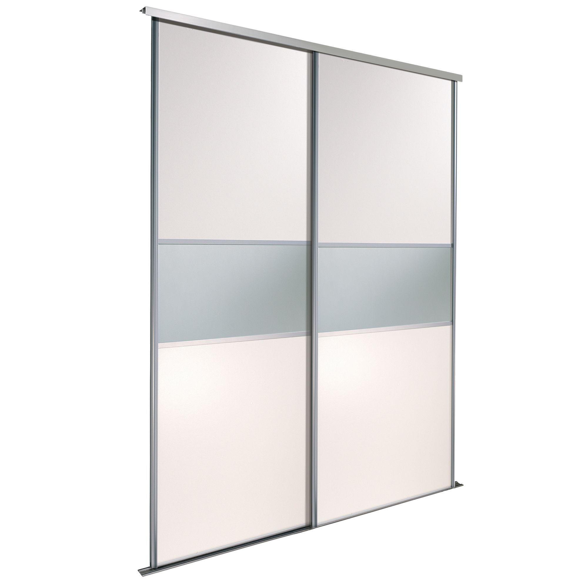 Fineline White Mirror Sliding Wardrobe Door Kit (h)2220 Mm (w)610 Mm, Pack Of 2