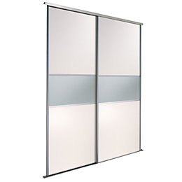 Fineline White Mirror Sliding Wardrobe Door Kit (H)2220