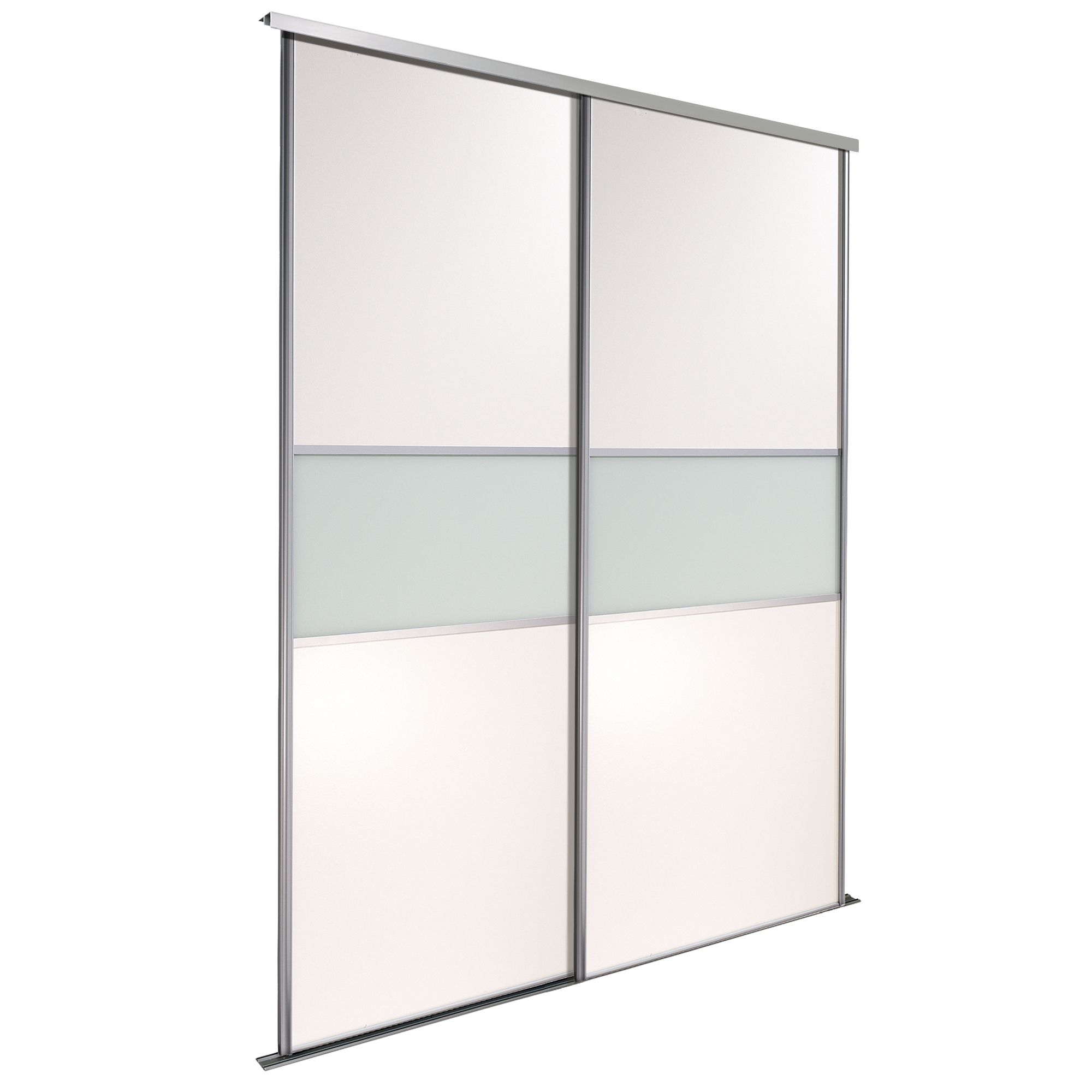 Fineline Silver Glass Panel Effect Sliding Wardrobe Door Kit (h)2200 Mm (w)914 Mm, Pack Of 2