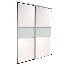 Fineline Silver Glass Panel Effect Sliding Wardrobe Door