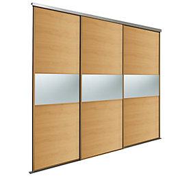 Fineline Oak Effect Sliding Wardrobe Door Kit (H)2220