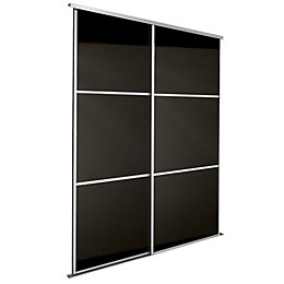 Premium Select Black Sliding Wardrobe Door Kit (H)2.22