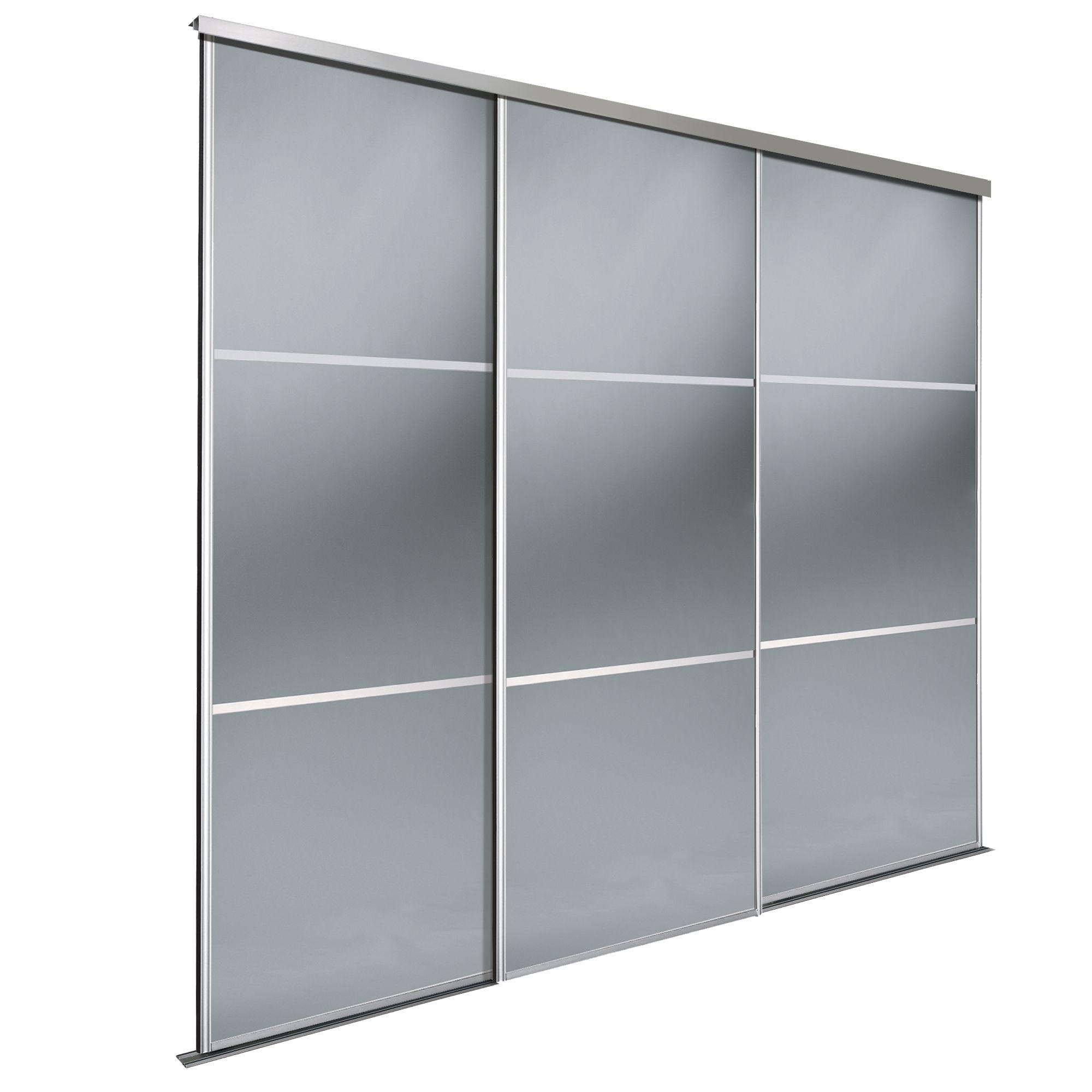 Premium Select Smoked Grey Mirror Sliding Wardrobe Door Kit (h)2220 Mm (w)914 Mm, Pack Of 3