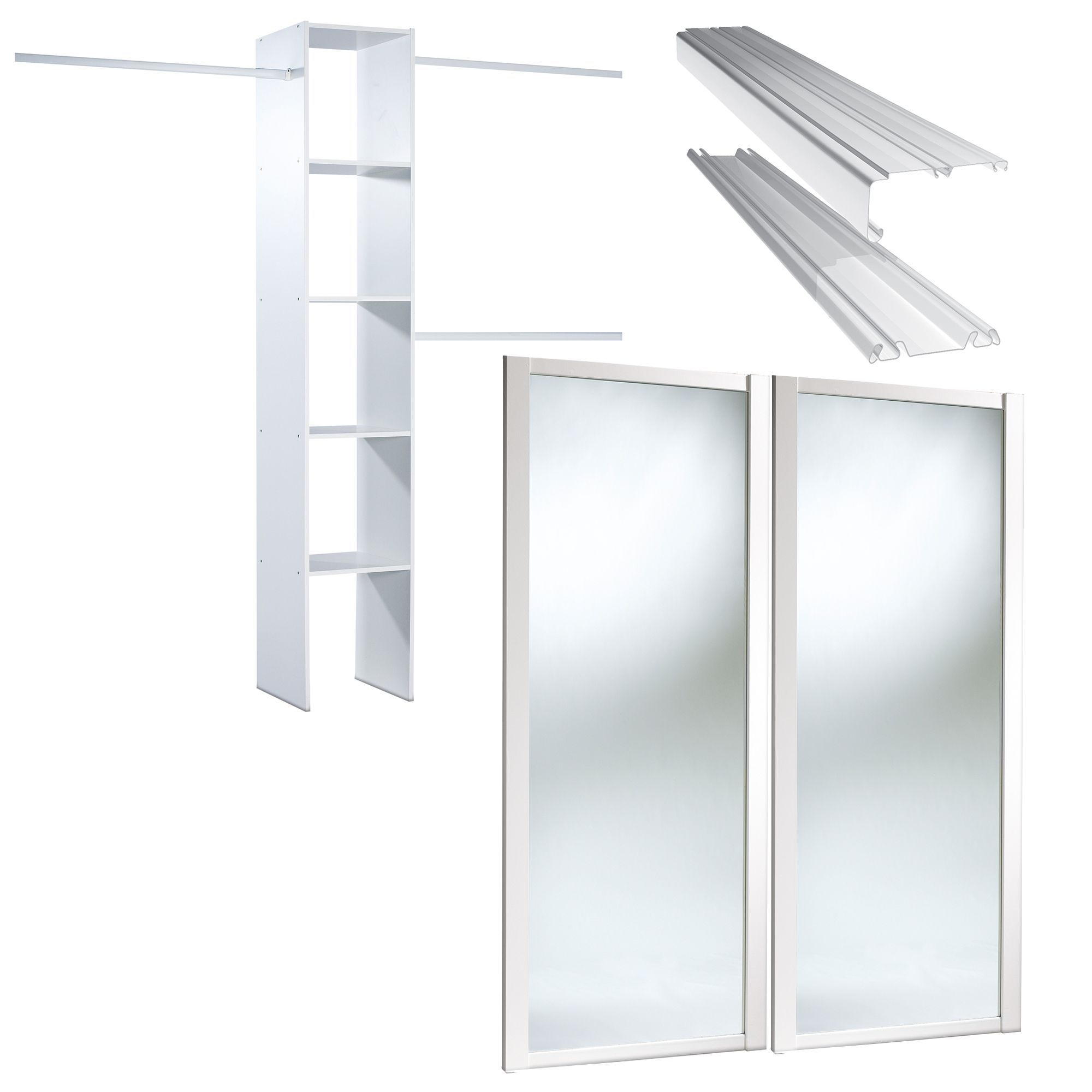 Shaker Full Length Mirror White Mirror Effect Sliding Wardrobe Door Kit (h)2220 Mm (w)1200mm