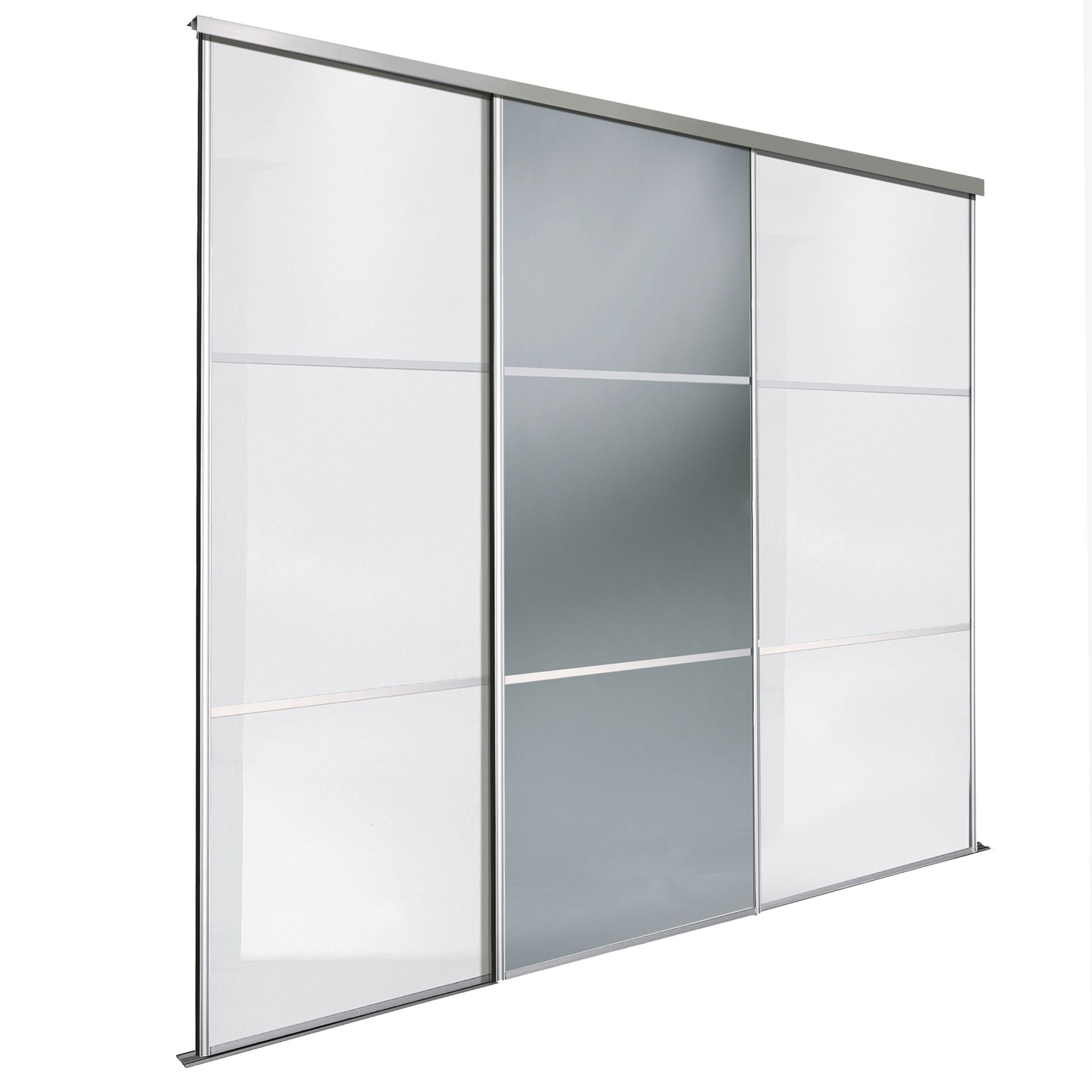 Premium Select White & Smoked Grey Mirror Sliding Wardrobe Door Kit (H)2220  mm (W)914mm, Pack of 3 | Departments | DIY at B&Q