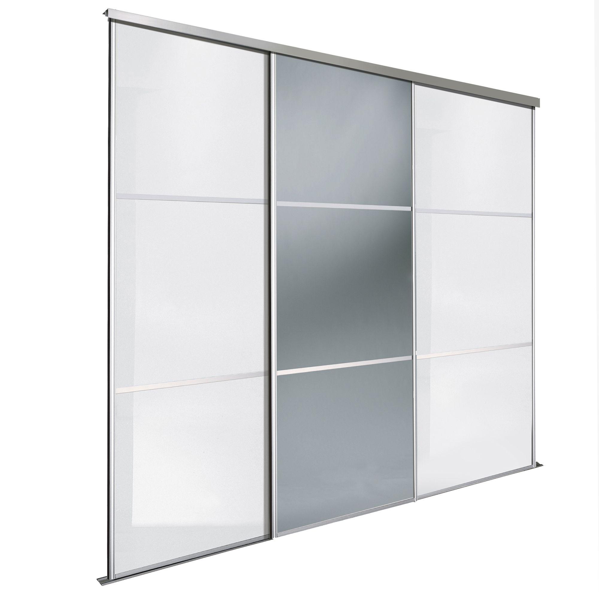 Premium Select White & Smoked Grey Mirror Sliding Wardrobe Door Kit (h)2220 Mm (w)914 Mm, Pack Of 3